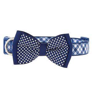 Dapper Dog Blue Plaid Bow Tie  Dog Collar | Medium